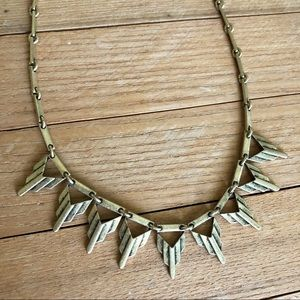 Gold bronze arrow head collar deco necklace